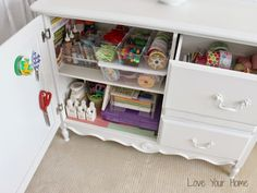 Dresser Turned Organized Craft Storage - see how! Craft Organization, Craft Storage, Storage Ideas, Organizing, Love Your Home, Dresser, Posts, Table, Blog