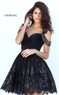 Black Sherri Hill 50503 Cap Sleeve Short Lace A Line Prom Dress
