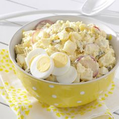 Deli-Style Potato Salad Recipe- Recipes I was inspired by my grandmother to cook, and loved going to her house for Sunday dinner. She passed her cooking skills down, and today my mom and I still make this potato salad. —Sally L. Deli Style Potato Salad Recipe, Potato Salad Recipe Without Celery, Potato Dishes, Pressure Cooker Recipes, Pressure Cooking, Summer Salads, Soup And Salad, Cooking Recipes, Egg Recipes