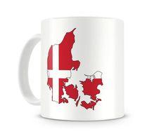Tasse mit Dänemark in Nationalfarben. Eine Tasse bedruckt mit Dänemark in…