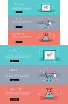 Media. Tech. Learning banners set. Web Elements. $3.00