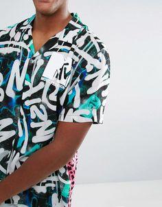 ASOS x MTV Oversized Graffiti Leopard Print Shirt