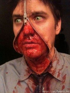 another zipper face . maybe we can be a zipper face couple this year? Best Halloween Costumes Ever, Halloween Costume Contest, Halloween Kostüm, Halloween Party Decor, Costume Ideas, Halloween Goodies, Easy Last Minute Costumes, Mascaras Halloween, Zipper Face