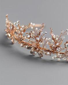 Hand Wired Gold or Rose Gold Botanical Wedding Tiara