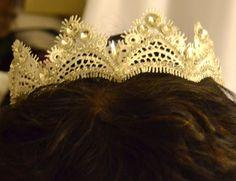 Tiara, headband, bridal headband, white ribbon pearl headband, wedding accessory by creatingwithni on Etsy