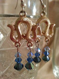 Handmade Vintage finding Chandelier and Blue by NamasJewels, $20.00