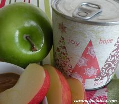Christmas Caramel Cooked in the Can - with printable label.  Fun Gift Idea.