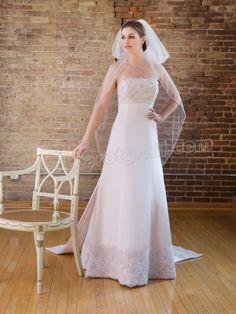 Satin Sleeveless Neckline Beaded Lace Empire Bodice A-line Wedding Dress