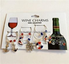 Wine Charms Silver Enamel Nautical Sailboat Anchor Blue White Red Glass Stem #HOPECollection