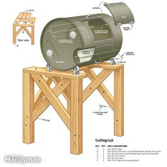 Drum composter plans-DIY Compost Tumbler It's large and loaded with features—but you can build it for the cost of a bargain model