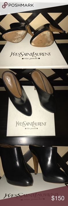 Yves Saint Laurent Leather Platform Pump Mules Black turtledove leather platform retro mules slightly worn in great condition Yves Saint Laurent Shoes Heels