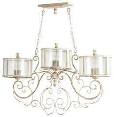 Florent French Country White 9 Light Island Chandelier  chandeliers