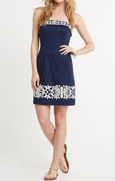 Vineyard Vines Medallion Embroidered Strapless Dress | Perfect for wearing all-year-round