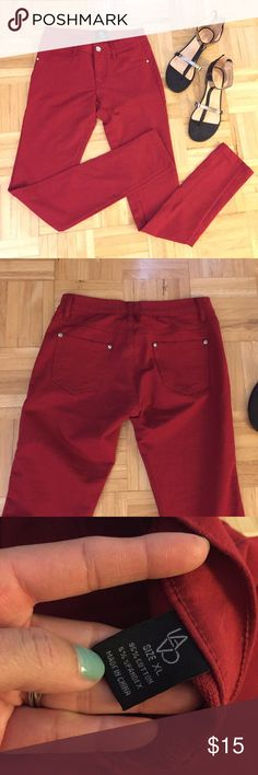 ✨SALE✨Red jeggings Very comfortable and give for stretch. I've listed them as large because they do run a little small. They are more of a junior size rather then women's. They are stable in any wardrobe. Pants