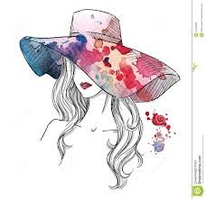 Illustration of Sketch of a girl in a hat. Hand drawn vector art, clipart and stock vectors. Illustration Sketches, Art Sketches, Art Drawings, Stock Illustrations, Fashion Illustrations, Hat Vector, Vector Art, Image Vector, Sketches Of People