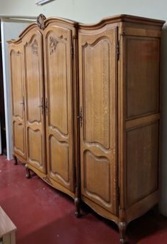 Home & Garden Reliable Beautiful French Vintage Louis Xv Carved Oak 4 Door Wardrobe Armoire Flat Pack Antiques