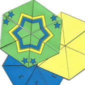 Craft project: Instructions and patterns for making flexagons. Flexagons are folded paper polygons that have the neat feature of changing faces as they are 'flexed'.