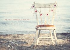 Sea Photo Art Print Ocean Hearts Vintage Chair Burlap Bunting Anqitue Book - 8 x 12 Painting Burlap, Beach Gifts, Sea Photo, Vintage Chairs, Beach House Decor, Home Art, Art Decor, Room Decor, Banners