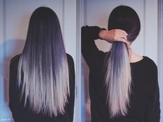 Black to white ombré hair . I really want it !!