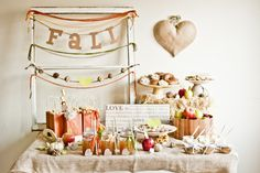 Fall Party-love the burlap table cover