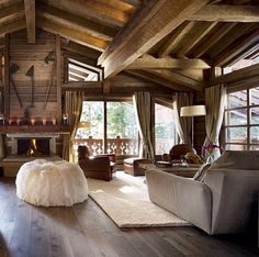 A delectable fairytale cottage in Courchevel 1850 France. Cabin Interiors, Rustic Interiors, Cabin Homes, Log Homes, Chalet Design, Chalet Style, Ski Chalet, Chalet Chic, Chalet Interior