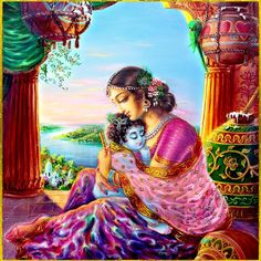 Krishna and his mother Yoshoda Radha Krishna Wallpaper, Lord Krishna Images, Radha Krishna Pictures, Radha Krishna Photo, Krishna Photos, Krishna Art, Baby Krishna, Krishna Lila, Little Krishna