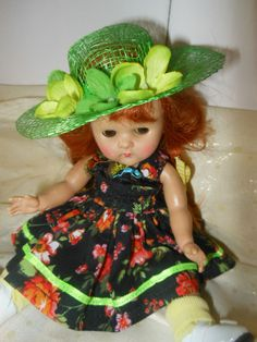 PLAY ALL DAY, dress  with hat,  fits Ginny, Muffie, all 7 to 8 in. dolls.