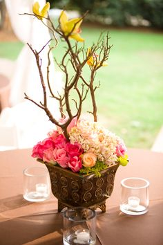 rose centerpieces   Kim Box Photography