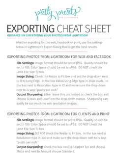 Exporting in Lightroom Cheat Sheet