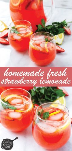 Homemade Fresh Strawberry Lemonade! This fresh strawberry lemonade is perfect for hot summer days. It's refreshing and perfectly sweet. Much needed during hot summer days! #lemondade #homemadelemonade #freshlemonade #strawberrylemonade #cookingformysoul | cookingformysoul.com