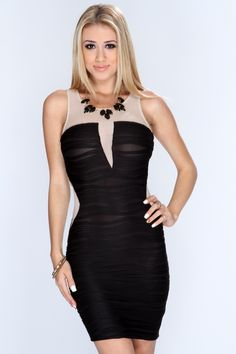 Take your look to a whole new level and add this sexy slinky dress to your collection! Youll sure be center of attention at your next party/event! Just pair it with your favorite AMI heels and flashy accessories for a complete look! it features scoop neck, sleeveless, ribbed, mesh cut outs, and tight fitted. 95% Polyester 5% Spandex. Made in USA.