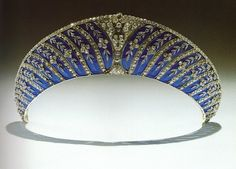 Russian Kokoshnik Enamel tiara of the Dukes of Westminster;   ~ an unusual tiara made of forget-me-not flowers of diamonds and jewels on a background of transparent blue enamel - set in platinum - (by Chaumet, Paris).