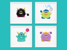 Cute Baby Monsters, Nursery Prints, Posters, Printable, Cartoon, Illustrations by RageRabbit on Etsy