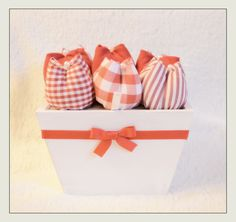 Box with fabric tulips