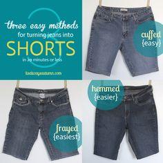 the perfect cut off jeans in 15 minutes! {cuffed, hemmed, or frayed - three hem options for turning jeans into shorts (cutoffs) in 20 minutes or less - three hem options for turning jeans into shorts (cutoffs) in 20 minutes or less Sewing Hacks, Sewing Tutorials, Sewing Projects, Sewing Ideas, Diy Clothing, Sewing Clothes, Jeans Refashion, Diy Jeans, Learn To Sew