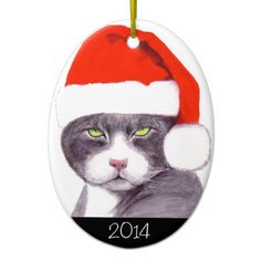 Gray Cat with Santa Hat (w/ Year) Christmas Ornament
