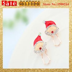Factory Wholesale Gold Plated Crystal Shine Cute Earring Jewelry Gift ,Santa Face Whit Hat Christmas Clip Earrings for Women