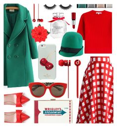 """jewel green and red"" by cutandpaste ❤ liked on Polyvore featuring Victoria's Secret, Chicwish, Kate Spade, Anya Hindmarch, Carven, Dolce&Gabbana, Dsquared2 and Clé de Peau Beauté"