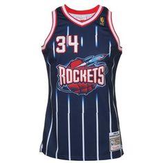 fdd0e13cd Mitchell   Ness Hakeem Olajuwon Houston Rockets 1996-97 Hardwood Classics  Throwback Authentic Home Jersey - Navy Blue