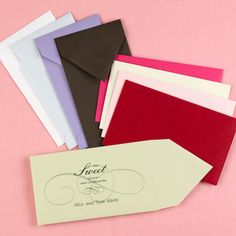 "Colorful Candy Bar Envelopes  Enclose a favorite treat inside these colorful envelopes. Choose from nine different colors and six design options!  6 1/2"" x 3 3/4"""