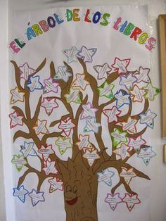 Put up tree. Have children fill out a leaf with a favorite book title. Grammar Book, French Classroom, Class Decoration, Library Displays, Teaching Spanish, School Projects, School Ideas, School Bulletin Boards, Classroom Decor