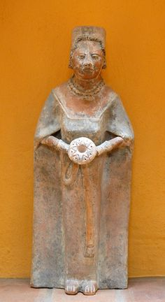 Maya Woman Figurine.  This modern reproduction of an ancient Maya figurine occupies a nicho in a colonial home in San Cristobal de las Casas Chiapas Mexico