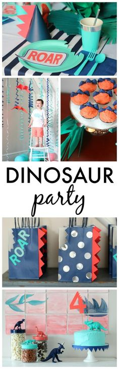 Dinosaur Birthday Party - Roar! Modern Boys Birthday with Aqua, Navy and Coral Colors