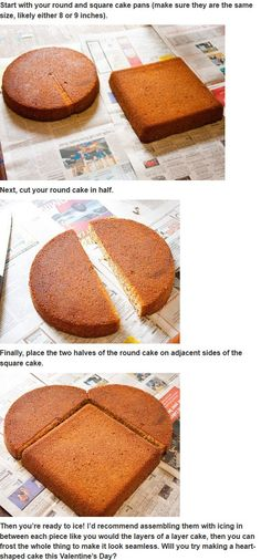 an easy way to make heart-shaped cake for Valentine's Day.