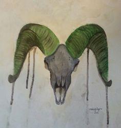 Watercolor Big Horned Sheep Skull