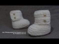 Passo a passo bota cano alto pra Bebê em crochê Parte-1 - YouTube