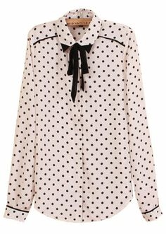 To find out about the White Long Sleeve Bow Polka Dot Chiffon Blouse at SHEIN, part of our latest Blouses ready to shop online today! Hijab Fashion, Fashion Outfits, Womens Fashion, Emo Fashion, Fashion Shoes, Polka Dot Blouse, Polka Dots, 1940s Dresses, Vintage Dresses