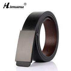 HIMUNU Business Luxury Brand Men Belt Fashion Smooth Buckle Belt for Men Design Belts Men High Quality Genuine Leather Belts