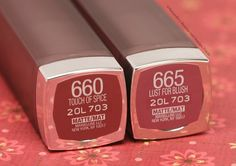 Maybelline Creamy Matte Lipstick: Touch Of Spice and Lust For Blush - myfindsonline.com