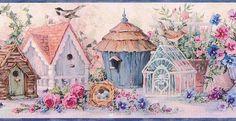 Blue Flowers And Bird Houses Wallpaper Border
